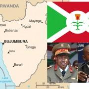 Karte und Flagge von Burundi, Putschgeneral Godefroid Niyombare (links), Präsident Pierre Nkurunziza (rechts); Quellen: public domain, Wikimedia