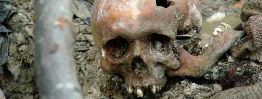 Schädel eines Opfers des Massakers in Srebrenica in einem exhumierten Massengrab bei Potocari, Bosnien und Herzegovina im Juli 2007. Photo by Adam Jones adamjones.freeservers.com