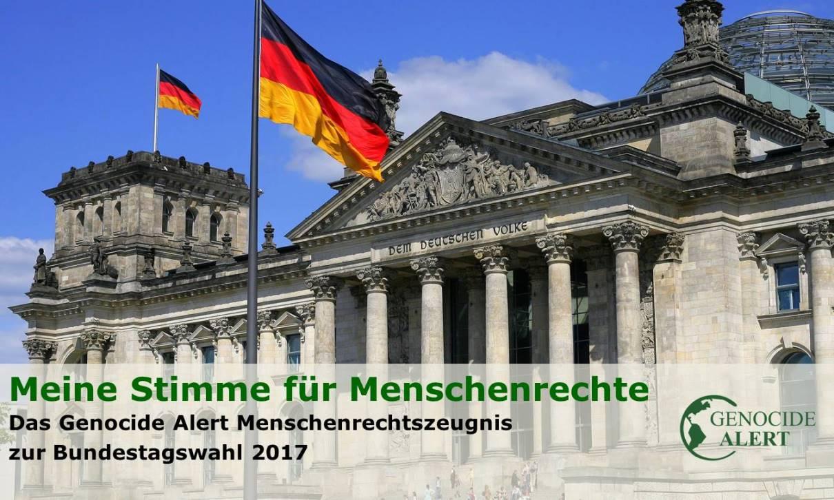 Genocide Alert Menschenrechtszeugnis 2017 (Bild: Reichstag in Berlin - Sitz des Deutschen Bundestages, Bild: Wikimedia, Cezary Piwowarski, 2007)