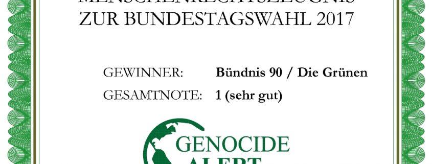 Menschenrechtszeugnis 2017 für Bündnis 90/Die Grünen