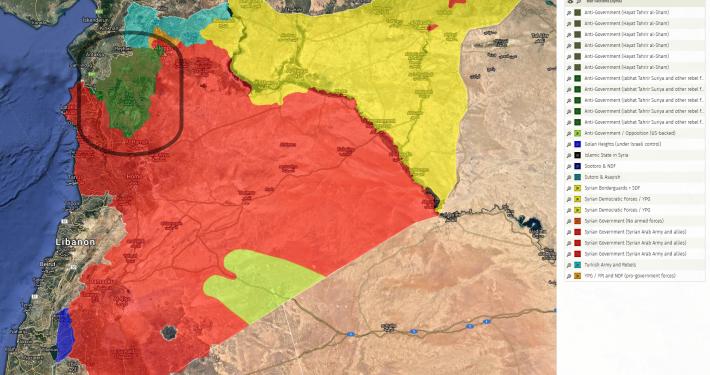 Karte der von den Kriegsparteien jeweils kontrollierten Gebiete in Syrien; Rebellen-Gebiete (grün) bei Idlib sind hervorgehoben (Quelle: http://syriancivilwarmap.com, 7.10.2018)