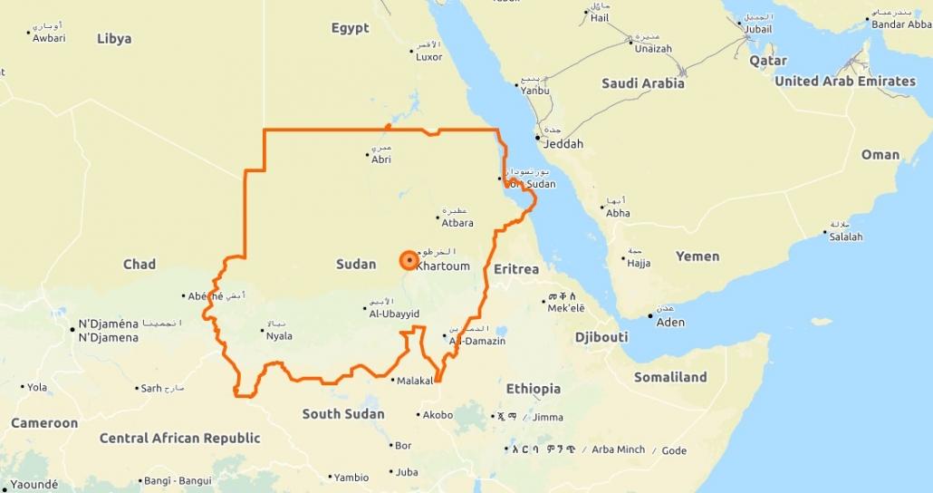 Karte Sudan (Quelle: Open Street Maps)
