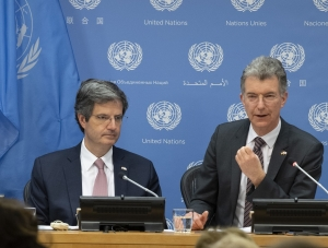 François Delattre (left), Permanent Representative of France to the United Nations and President of the Security Council for the month of March and Christoph Heusgen (right), Permanent Representative of Germany to the United Nations and President of the Security Council for the month of April, hold a joint press briefing on the upcoming programme of work for the Security Council. (Source: UN Photo #799601 )