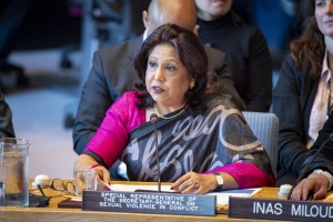 Pramila Patten, Special Representative of the Secretary-General on Sexual Violence in Conflict, addresses the Security Council meeting on women and peace and security, with a focus on sexual violence in conflict. 23 April 2019 (Source: UN Photo #805125)