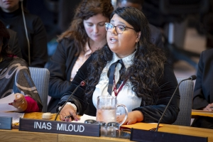 Inas Miloud, co-founder and chairperson of Tamazight Women's Movement, addresses the Security Council meeting on women and peace and security, with a focus on sexual violence in conflict. (Source: UN Photo #805200)